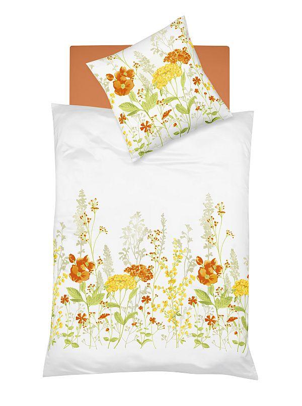 fleuresse mako satin bettw sche milano orange garnitur 135x200 cm kopfkissen 80x80 cm. Black Bedroom Furniture Sets. Home Design Ideas