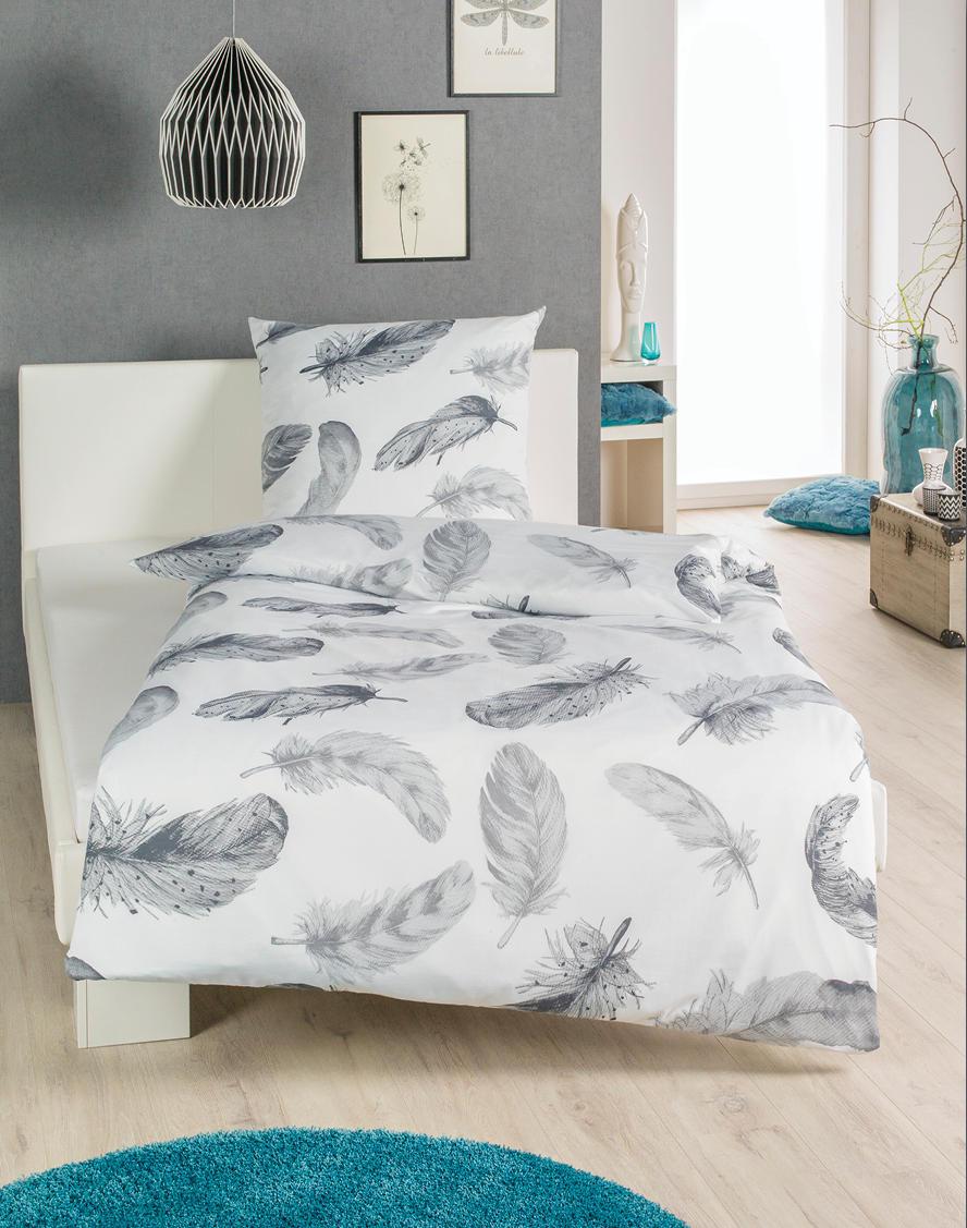 renforce bettw sche federn garnitur 135x200 cm kopfkissen 80x80 cm handtuch co. Black Bedroom Furniture Sets. Home Design Ideas